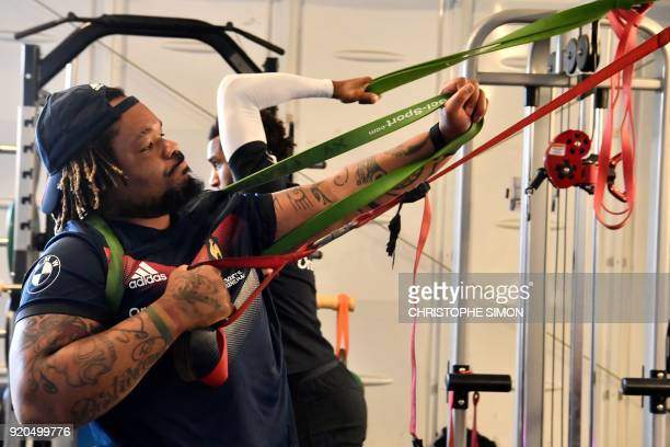 French center Mathieu Bastaraud takes part in a training session along with players of the French national rugby union team on February 19 2018 at...