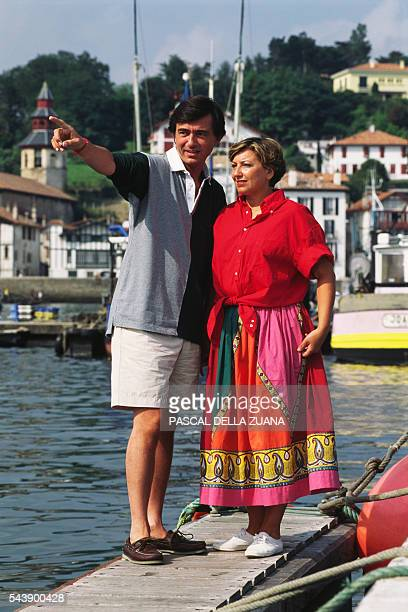 French centerright politician and Minister of Health Philippe DousteBlazy with his wife MarieYvonne on holiday