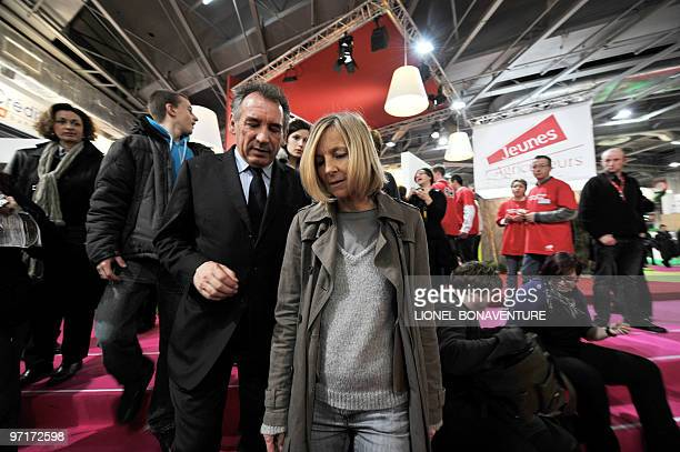 French centrist party MoDem president Francois Bayrou and number 2 Marielle de Sarnez visit on February 28 2010 the international agricultural fair...
