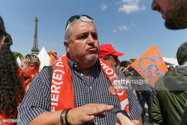 French CFDT trade union leader Didier Aubert speaks with the press during a gathering of employees of the stateowned rail operator SNCF called by CGT...