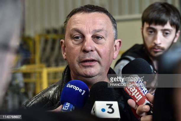 French CFDT Union delegate Bruno Kopzinski speaks to the press following Strasbourg court's decision concerning the resumption of Ascoval's firm by...