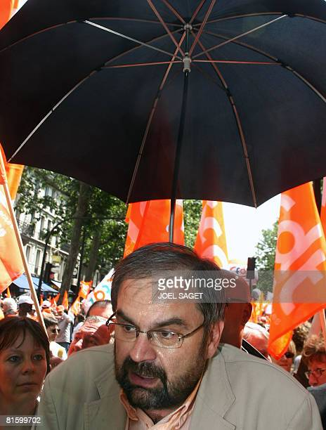 French CFDT union leader Francois Chereque speaks to the press on June 17 2008 in Paris during a demonstration as part of a nationwide strike called...