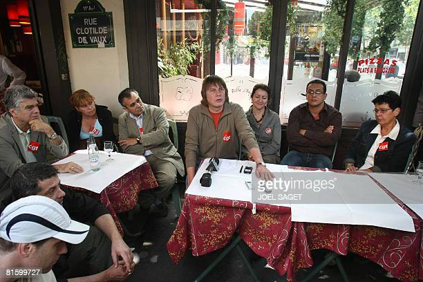 French CGT union leader Bernard Thibault gives a press conference with CGT members on June 17 2008 in Paris before the start of a demonstration as...