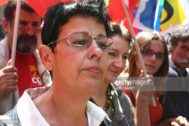 French CGT union number 2 Maryse Dumas attends a demonstration as part of a nationwide strike called by the two biggest unions CGT and CFDT on June...