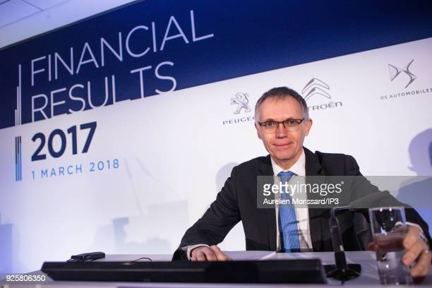 French Chairman of the Managing Board Carlos Tavares attends a press conference to present the Groupe PSA Full Year 2017 Financial Results in Reuil...