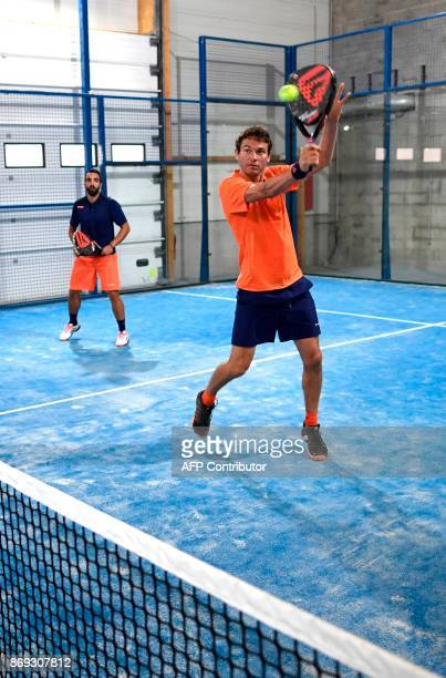French Champion of Padel Jeremy Scatena plays a padel match on October 10 2017 in Bois d'Arcy near Paris Tennis champions like Nadal and Monfils have...