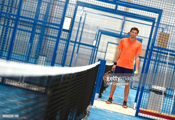 French Champion of Padel Jeremy Scatena poses for a photograph on October 10 2017 in Bois d'Arcy near Paris Tennis champions like Nadal and Monfils...