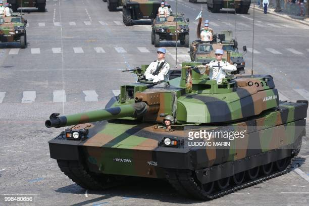 French Char Leclerc tank of the 5th Dragoon Regiment , takes part in the annual Bastille Day military parade on the Champs-Elysees avenue in Paris on...