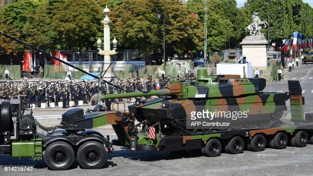 French Char Leclerc tank parades down the Champs-Elysees avenur during the annual Bastille Day military parade on the Champs-Elysees avenue in Paris...