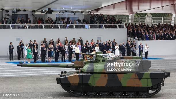 French Char Leclerc tank takes part in the annual Bastille Day military parade down the Champs-Elysees avenue in Paris on July 14, 2019.