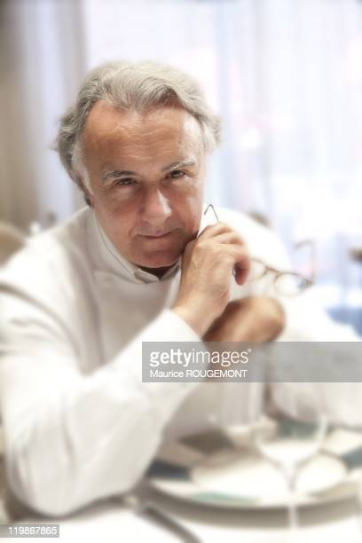 French Chef Alain Ducasse poses in Plaza Athenee Hotel on April 3 in Paris France
