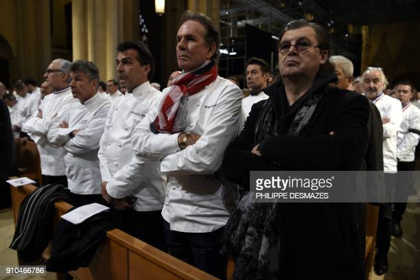 French chef Alain Ducasse Regis Marcon and Yannick Alleno US chef Thomas Keller and French chef Marc Veyrat attend the funeral ceremony for French...