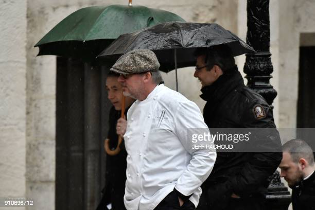 French chef Alain Llorca arrives to attend the funeral ceremony for late French chef Paul Bocuse at the SaintJean Cathedral in Lyon on January 26...