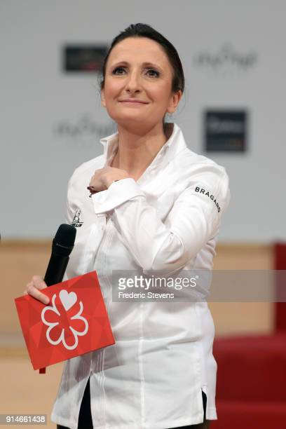 French chef Anne Sophie Pic during Michelin ceremony Award 2018 at Philharmonie De Paris on February 5 2018 in Paris France The 2018 Michelin Guide...