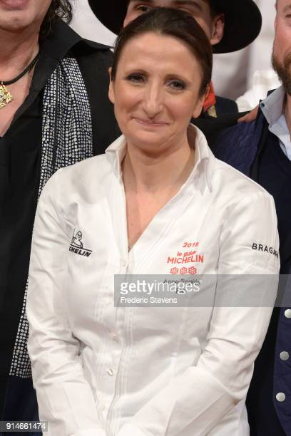 French chef Anne Sophie Pic poses during Michelin ceremony Award 2018 at Philharmonie De Paris on February 5 2018 in Paris France The 2018 Michelin...