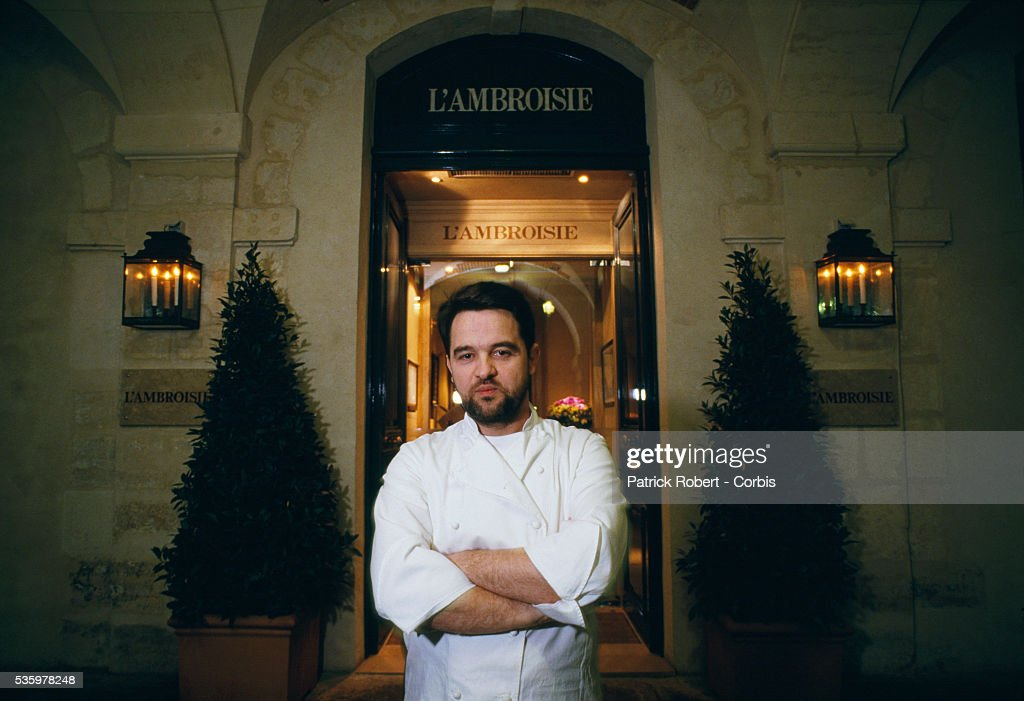 French chef Bernard Pacaud stands outside his Paris restaurant L'Ambroisie. Pacaud has just been awarded a third Michelin star, the sign of prestige and quality for French chefs and restaurants.
