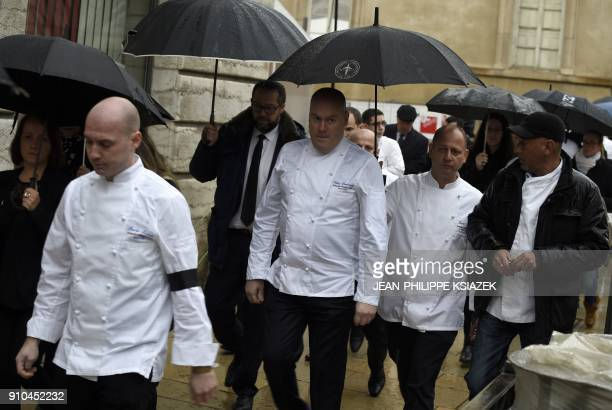 French chef Cedric Boutroux arrives to attend the funeral ceremony for French chef Paul Bocuse at the SaintJean Cathedral in Lyon on January 26 2018...