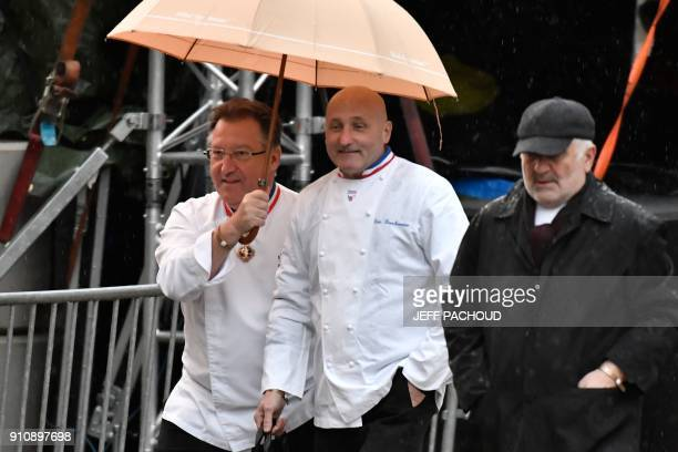 French chef Eric Bouchenoire arrives to attend the funeral ceremony for late French chef Paul Bocuse at the SaintJean Cathedral in Lyon on January 26...
