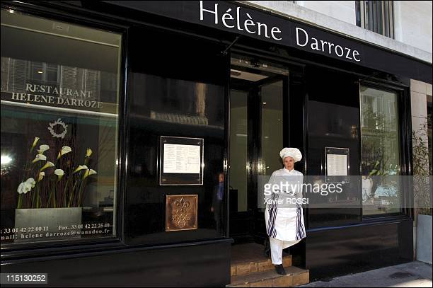French chef Helene Darroze awarded 2 stars in the 2003 Michelin guide in Paris France in February 2003 Outside her restaurant on the rue d'Assas