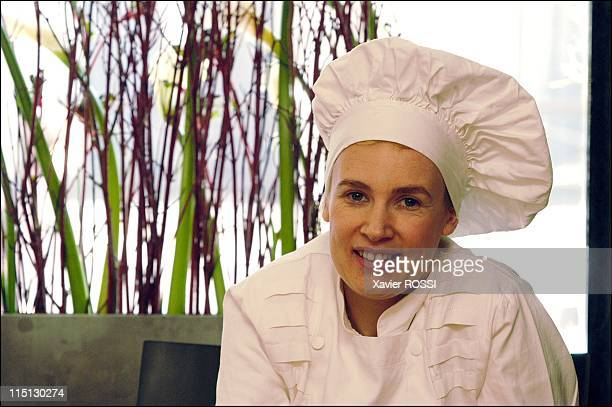 French chef Helene Darroze awarded 2 stars in the 2003 Michelin guide in Paris France in February 2003 In her restaurant rue d'Assas