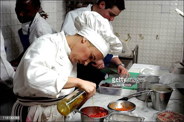 French chef Helene Darroze awarded 2 stars in the 2003 Michelin guide in Paris France in February 2003 In her kitchen at rush hour She has a team of...