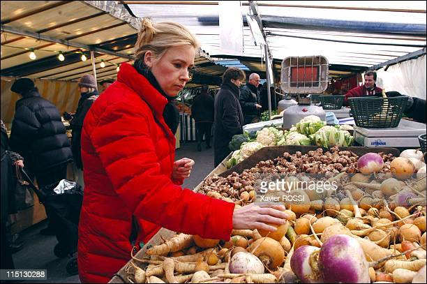 French chef Helene Darroze awarded 2 stars in the 2003 Michelin guide in Paris France in February 2003 Buying produce from her friend Joel Thiebault...