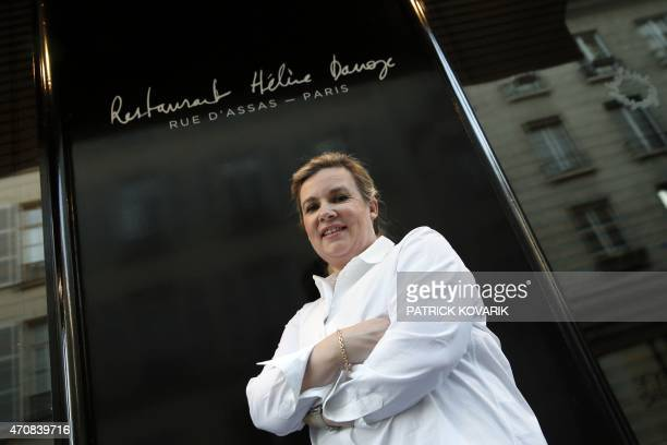 French chef Helene Darroze poses in front of her restaurant in Paris on April 23 after being awarded the 2015 Veuve Clicquot 'World's Best Female...
