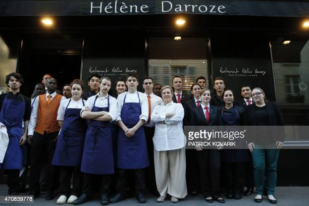 French chef Helene Darroze poses with her staff in front her restaurant in Paris on April 23 after being awarded the 2015 Veuve Clicquot 'World's...