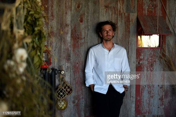 French chef Hugo Roellinger who was awarded two Michelin stars last January poses at La ferme du vent close to his restaurant Le Coquillage in...