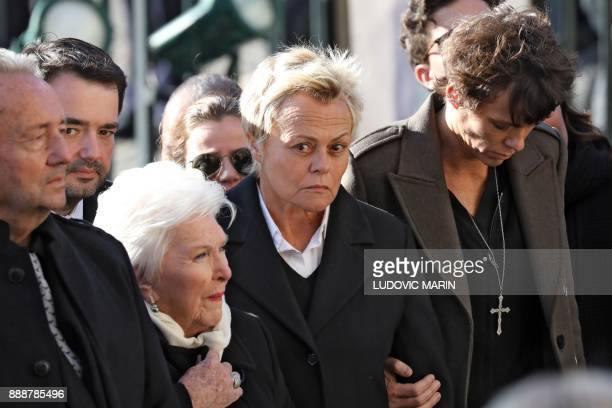 French chef JeanFrancois Piege French singer Line Renaud French actress and humorist Muriel Robin and her partner French actress Anne Le Nen arrive...