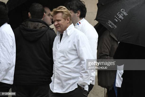 French chef JeanYves Schillinger arrives to attend the funeral ceremony for French Paul Bocuse at the SaintJean Cathedral in Lyon on January 26 2018...