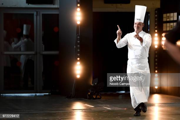 French chef Jerome Bocuse greets the audience during the Europe 2018 Bocuse d'Or International culinary competition Best ten teams will access to the...