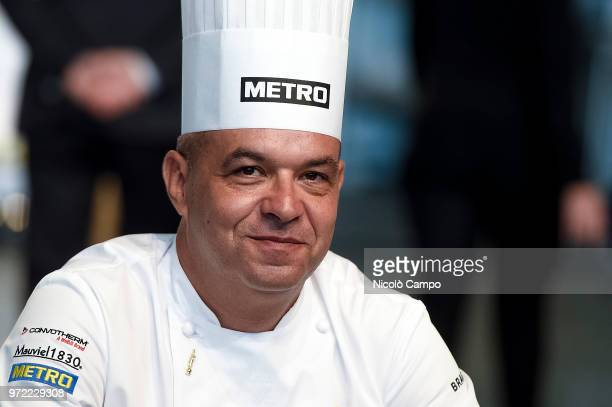 French chef Jerome Bocuse smiles during the Europe 2018 Bocuse d'Or International culinary competition Best ten teams will access to the world final...