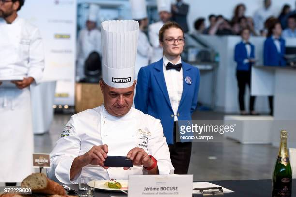 French chef Jerome Bocuse takes a pictures of a dish during the Europe 2018 Bocuse d'Or International culinary competition Best ten teams will access...