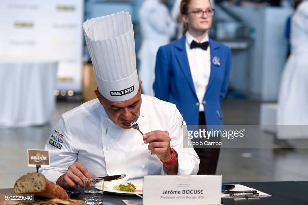 French chef Jerome Bocuse tastes a dish during the Europe 2018 Bocuse d'Or International culinary competition Best ten teams will access to the world...