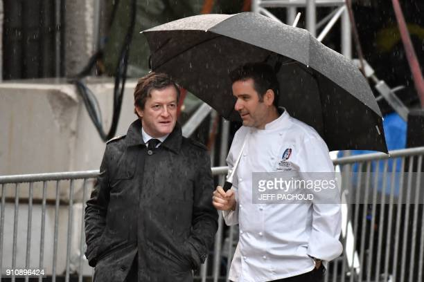French chef Julien Gautier arrives to attend the funeral ceremony for late French chef Paul Bocuse at the SaintJean Cathedral in Lyon on January 26...