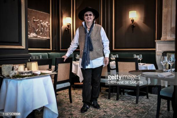 French chef Marc Veyrat poses on January 28 2020 in Paris in the restaurant owned by the Moma group La Fontaine Gaillon after being appointed its new...