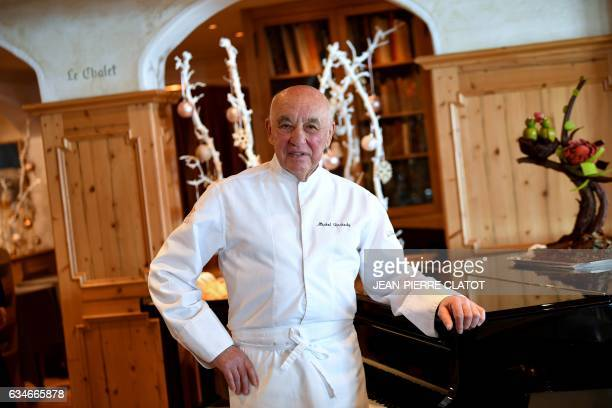 French chef Michel Rochedy poses for a picture in the twostar gourmet restaurant of the fourstar hotel 'Le Chabichou' on February 10 2017 in the...