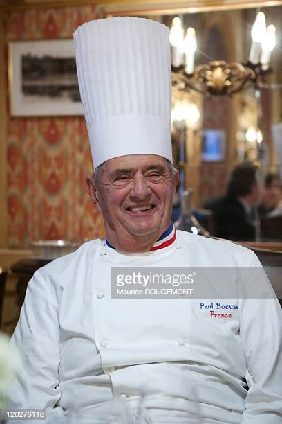 French Chef Paul Bocuse poses in his restaurant 'Paul Bocuse' on February 8 2011 in CollongesauMontd'Or near LyonFrance