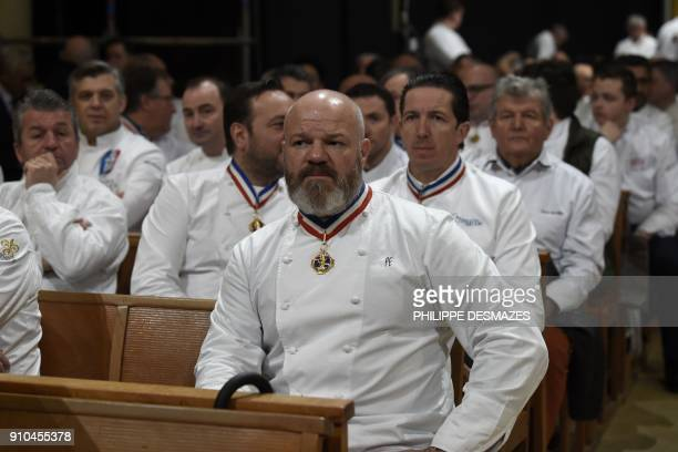 French chef Philippe Etchebest attends the funeral ceremony for French chef Paul Bocuse at the SaintJean Cathedral in Lyon on January 26 2018 More...