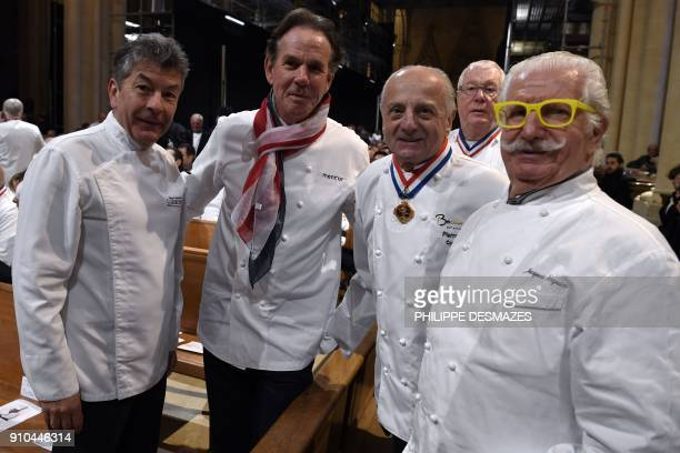 French chef Regis Marcon US chef Thomas Keller and French chefs Pierre Orsi and Jacques Marguin attend the funeral ceremony for French chef Paul...