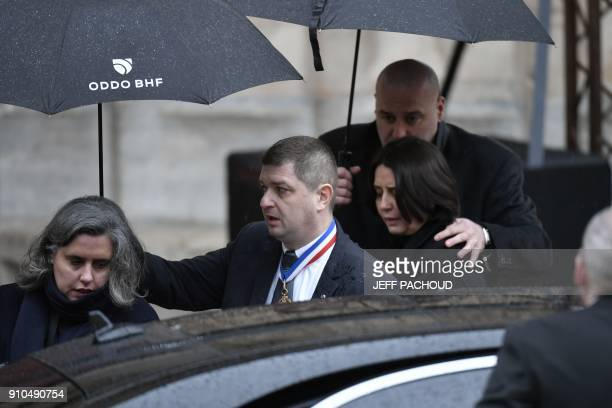 French chef Stephanie Roux granddaughter of French chef Paul Bocuse leaves the SaintJean Cathedral in Lyon after attending the funeral ceremony on...