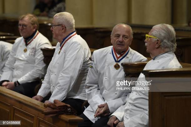French chefs Daniel Leron Pierre Orsi and Jacques Marguin attend the funeral ceremony for French chef Paul Bocuse at the SaintJean Cathedral in Lyon...