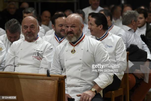 French chefs Laurent Orsi and Philippe Etchebest attend the funeral ceremony for French chef Paul Bocuse at the SaintJean Cathedral in Lyon on...