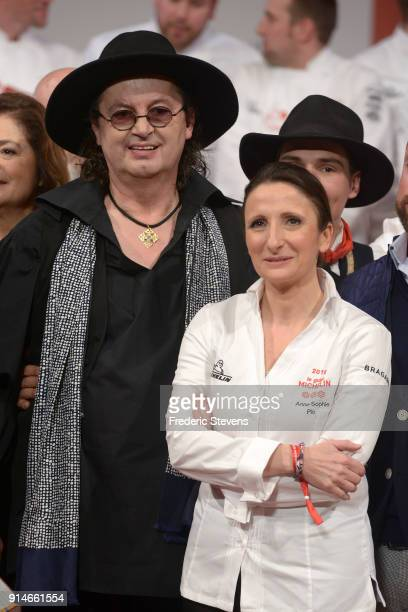 French chefs Marc Veyrat and Anne Sophie Pic pose during Michelin ceremony Award 2018 at Philharmonie De Paris on February 5 2018 in Paris France The...