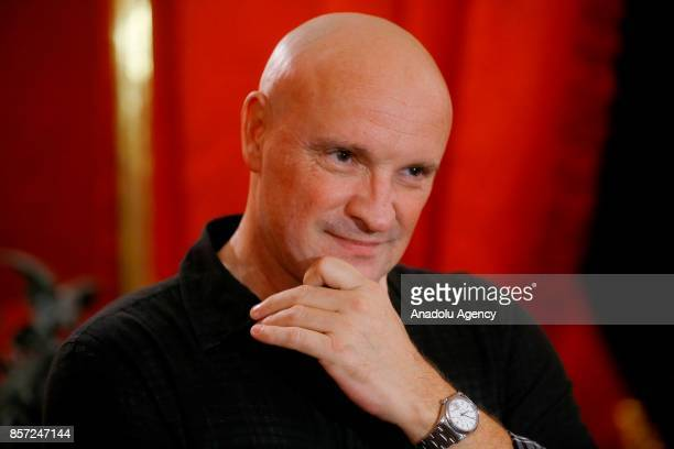 French choreographer Jean-Christophe Maillot attends an interview at the Bolshoi Theatre in Moscow, Russia on October 3, 2017.