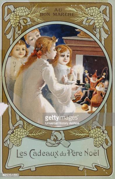 French Christmas card showing girls with a candle on Christmas Eve 1900