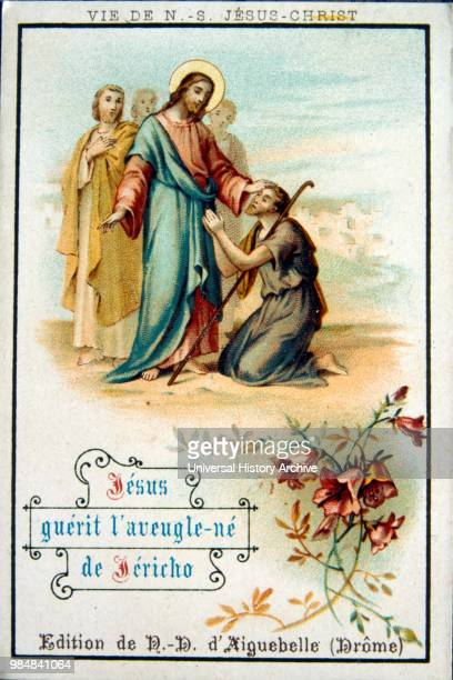 French Christmas card showing Jesus healing the blind man 1900