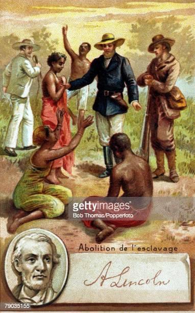 French chromolithograph Politics Abraham Lincoln who fought to abolish slavery