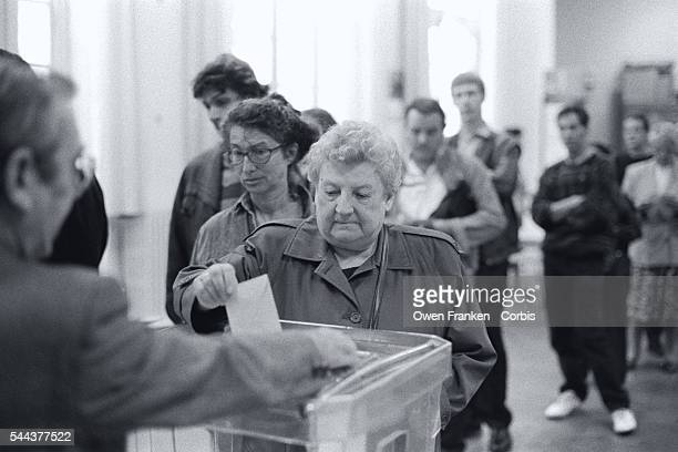 French citizens vote on the Maastricht Treaty which created the European Union